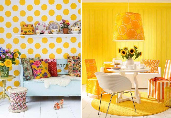 пример применения светлого желтого цвета в интерьере комнаты