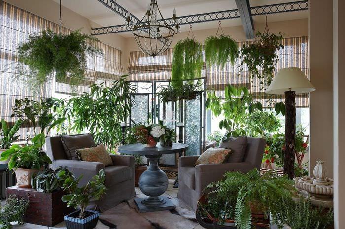 пример использования необычных идей оформления зимнего сада