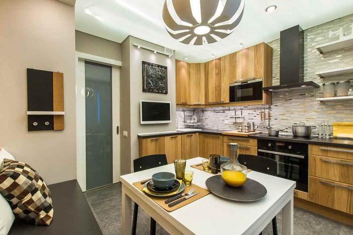 идея светлого дизайна кухни 10 кв.м. серии п 44