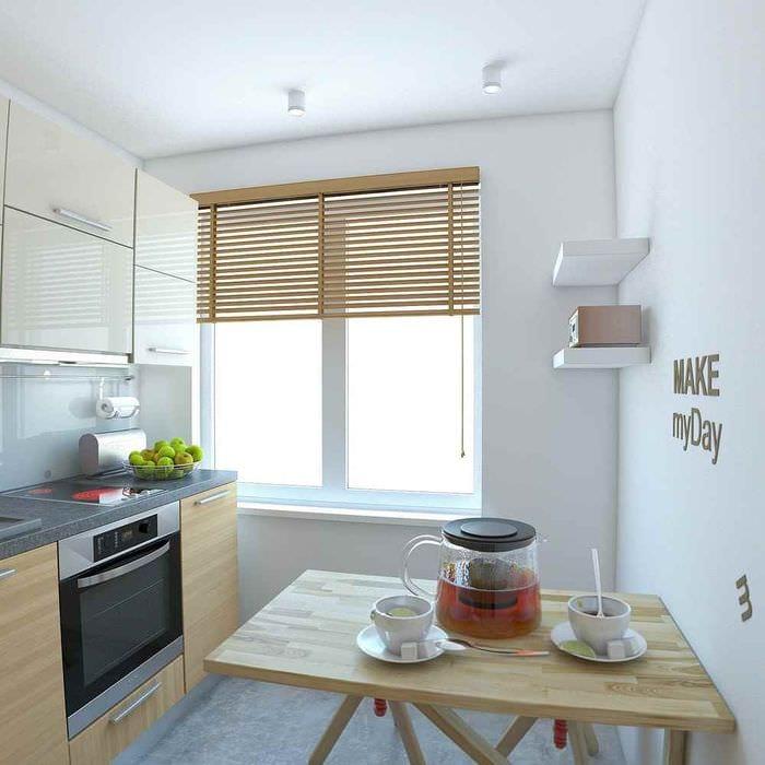 вариант красивого интерьера кухни 7 кв.м