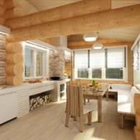 вариант светлого декора кухни в деревянном доме фото