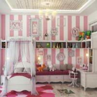 идея яркого дизайна детской комнаты для девочки фото