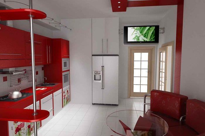 идея необычного дизайна кухни 11 кв.м