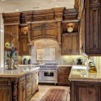 вариант красивого интерьера кухни в классическом стиле картинка
