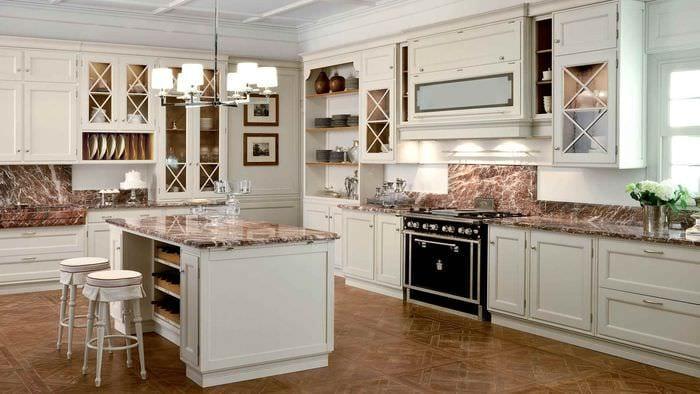 вариант светлого стиля кухни в классическом стиле