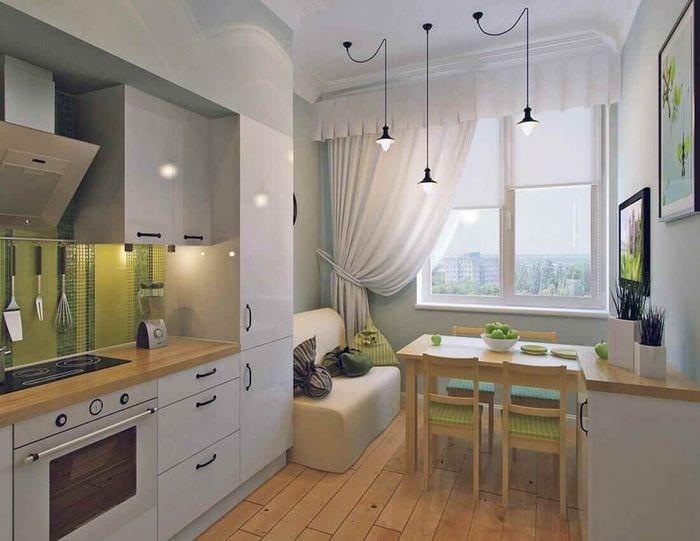 вариант яркого интерьера кухни 11 кв.м