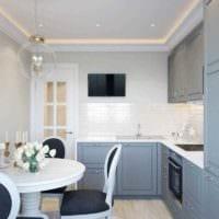вариант светлого дизайна кухни 7 кв.м фото
