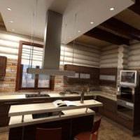 идея красивого дизайна кухни в деревянном доме картинка