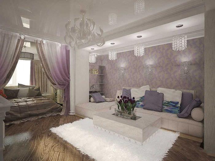 пример красивого декора гостиной спальни