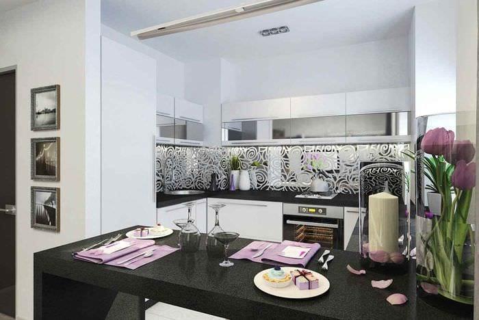 идея яркого интерьера кухни 10 кв.м. серии п 44