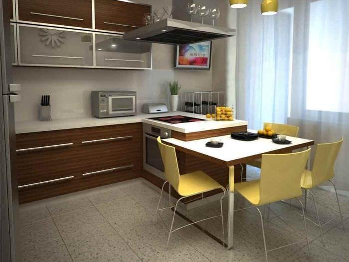 пример светлого декора кухни 11 кв.м