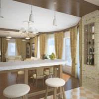 пример яркого стиля кухни в загородном доме фото