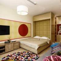 пример яркого стиля гостиной спальни картинка