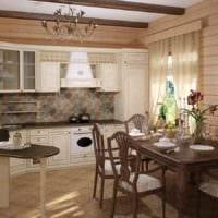 идея необычного интерьера кухни в деревенском стиле фото