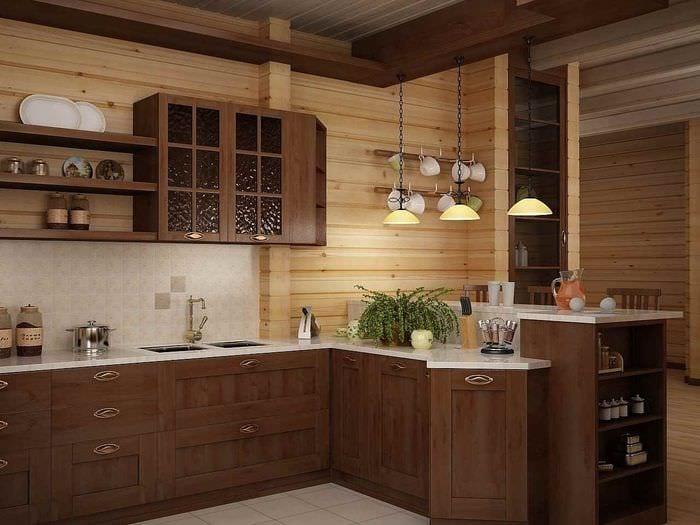 идея красивого декора кухни в деревянном доме