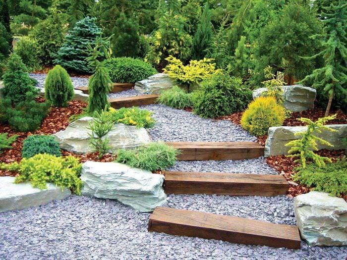 пример применения необычных садовых дорожек в дизайне двора