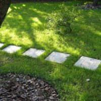 идея использования светлых садовых дорожек в дизайне двора фото