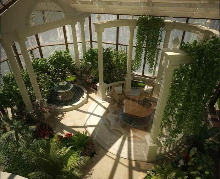 вариант использования ярких идей оформления зимнего сада