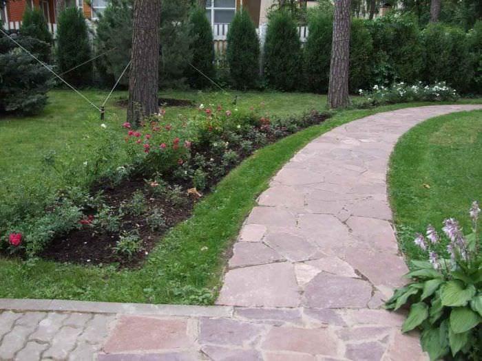 пример использования ярких садовых дорожек в дизайне двора
