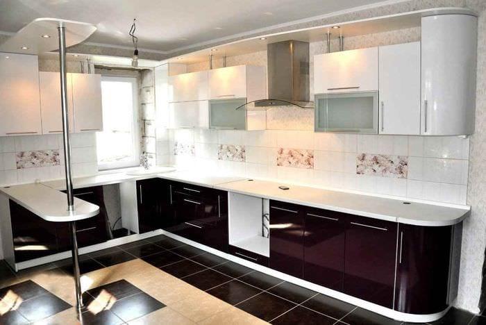 идея красивого интерьера кухни 13 кв.м