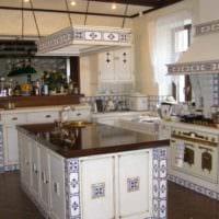 вариант светлого стиля кухни в деревенском стиле фото