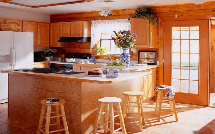 пример яркого интерьера кухни в деревянном доме
