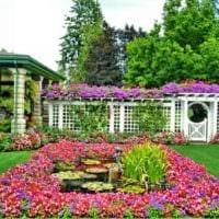 пример светлого декора палисадника в частном дворе картинка
