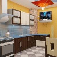 пример необычного дизайна кухни 13 кв.м картинка