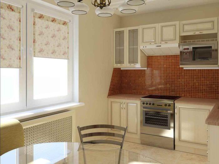 вариант светлого интерьера кухни 7 кв.м