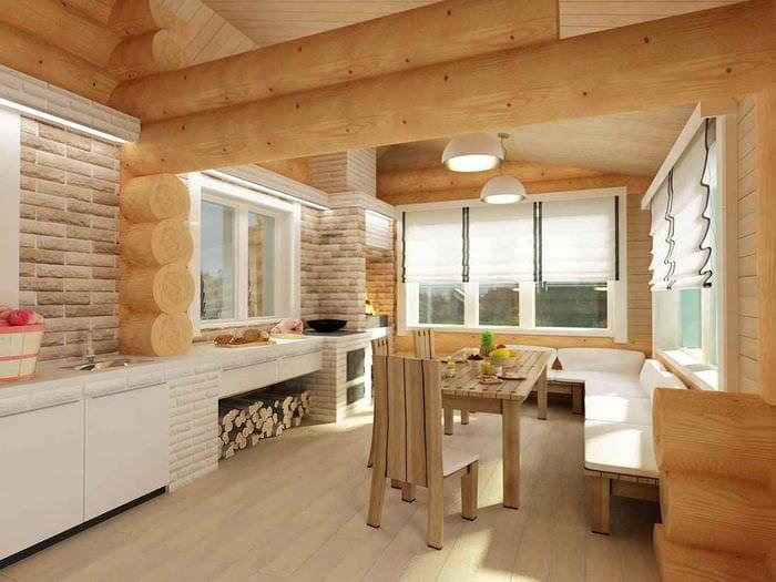 вариант необычного стиля кухни в деревянном доме