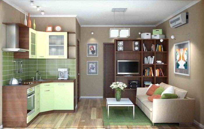 вариант необычного дизайна квартиры студии 26 квадратных метров