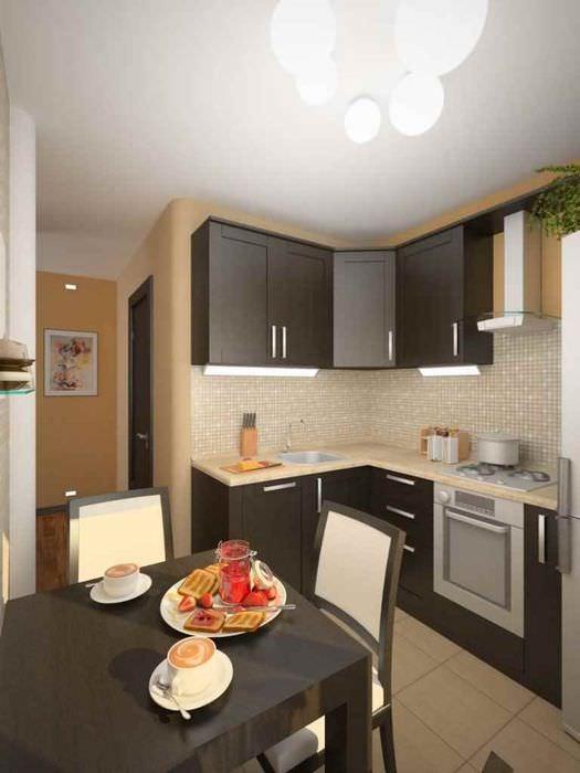 идея необычного интерьера кухни 11 кв.м