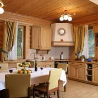 пример красивого декора кухни в деревянном доме картинка