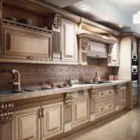 вариант яркого интерьера кухни в классическом стиле фото