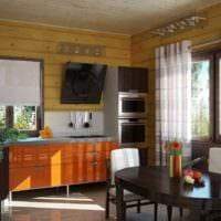 пример красивого дизайна кухни в деревянном доме картинка