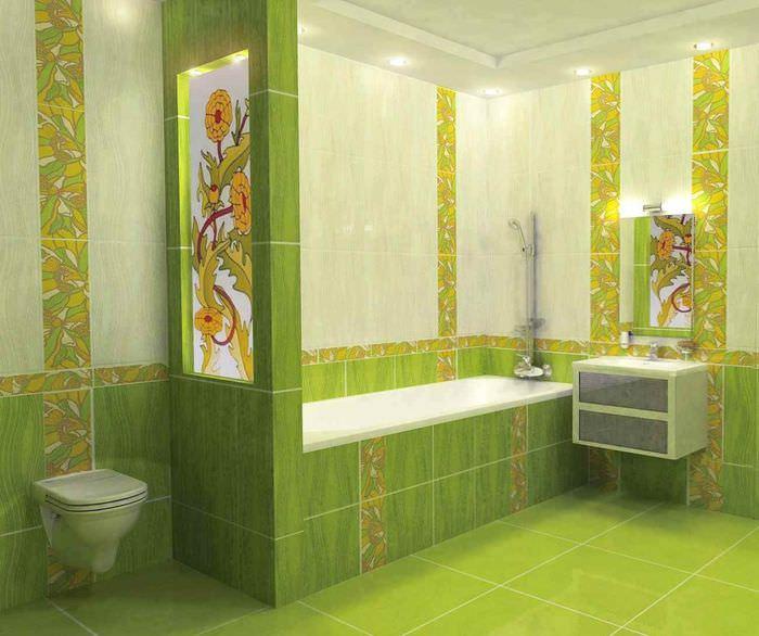 идея красивого дизайна укладки плитки в ванной комнате