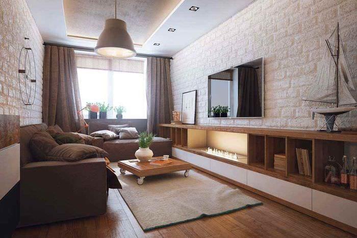 пример яркого декора гостиной 15 кв.м