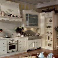 идея светлого интерьера кухни в деревянном доме фото