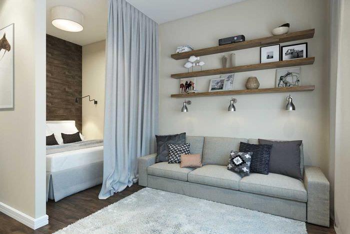 идея светлого стиля гостиной спальни