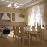 вариант красивого дизайна кухни в загородном доме картинка