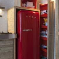 идея яркого интерьера кухни 12 кв.м фото