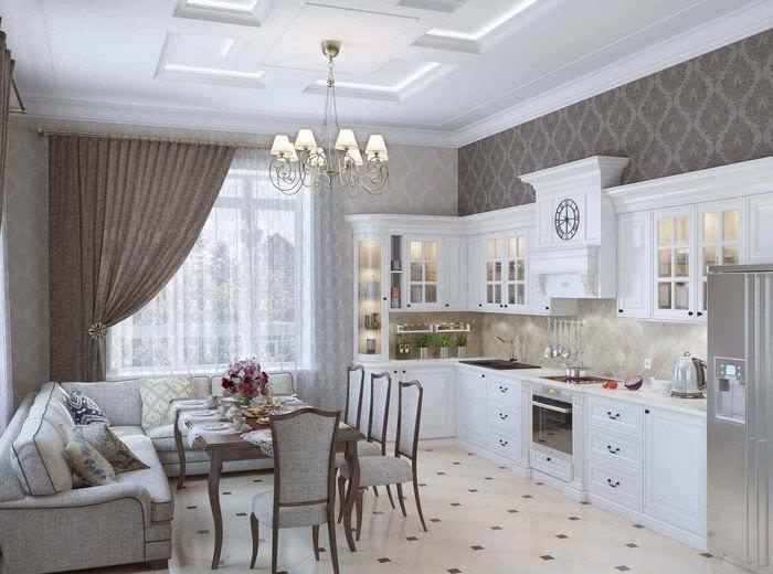 идея светлого стиля кухни в загородном доме