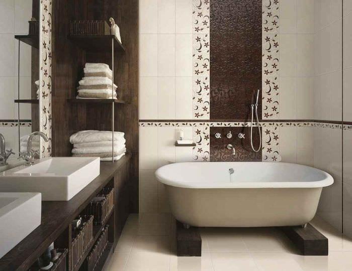 пример необычного стиля укладки плитки в ванной комнате