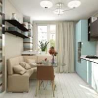 дизайн светло бирюзовой кухни с окном
