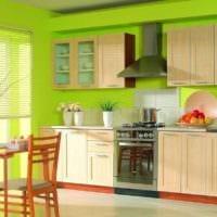 дизайн кухни с окном яркий интерьер