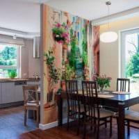 дизайн кухни с окном и фотообоями