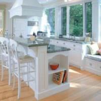 дизайн кухни с окном подоконники