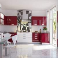 дизайн кухни с окном красно белый интерьер