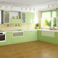 дизайн кухни с окном и рулонными шторами