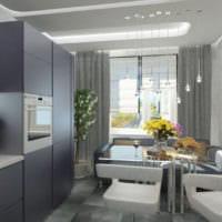 дизайн кухни с окном стиль хай тек
